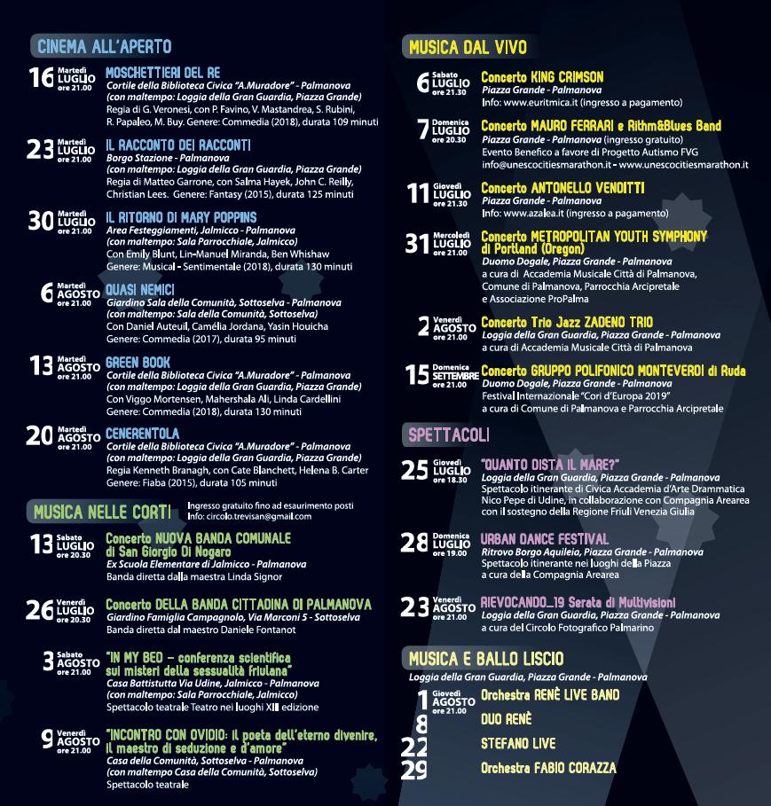 Programma completo Live&Cinema 2019 Palmanova-2
