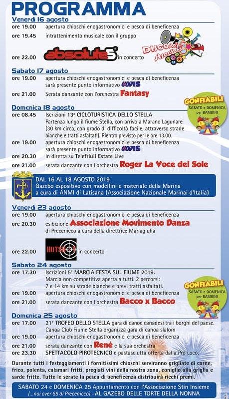 Programma sagra Precenicco 2019-2
