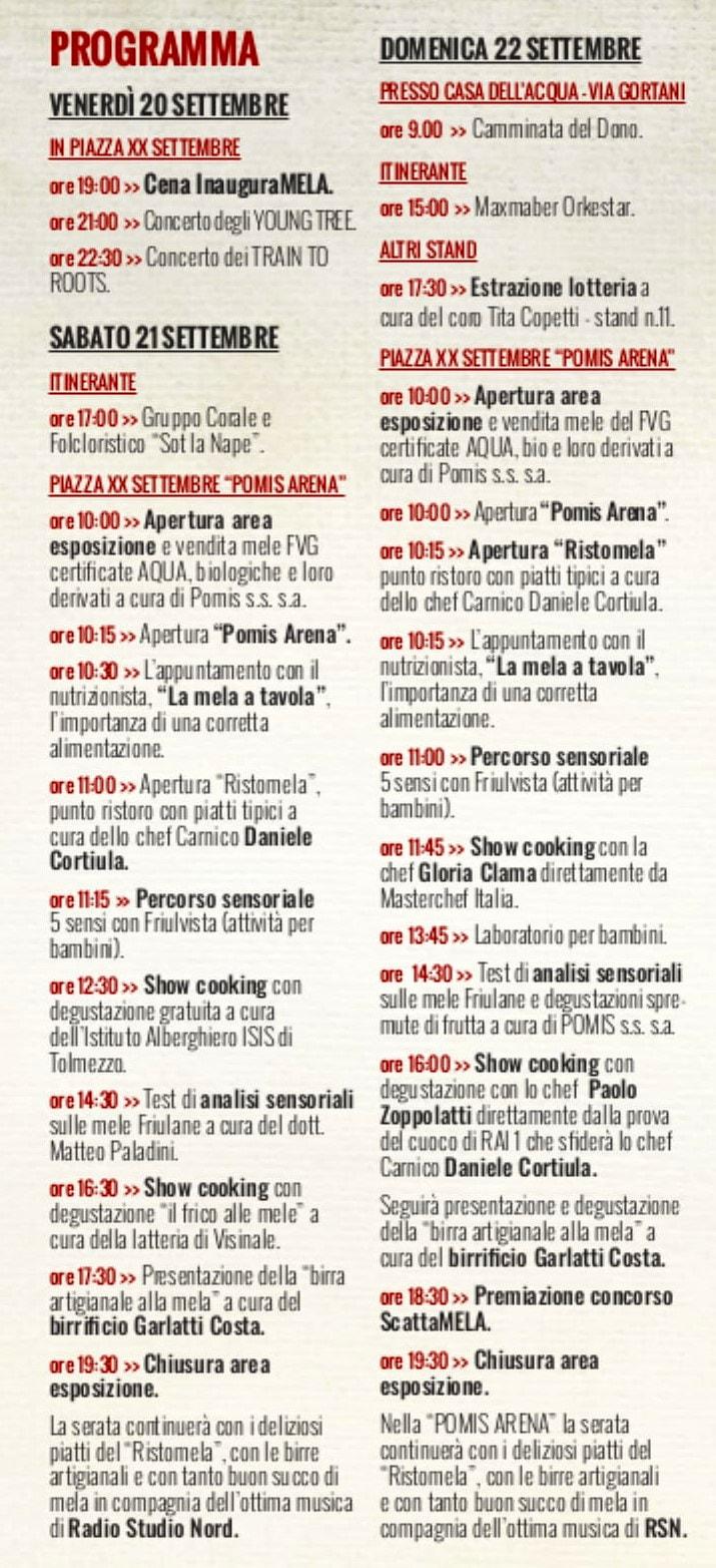 Programma festa mela Tolmezzo 2019-2