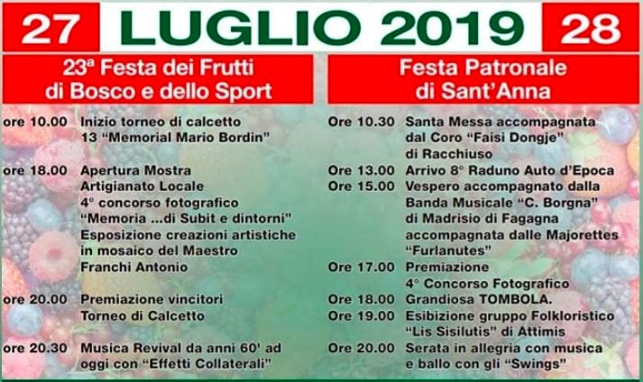 Programma sagra Subit 2019-2