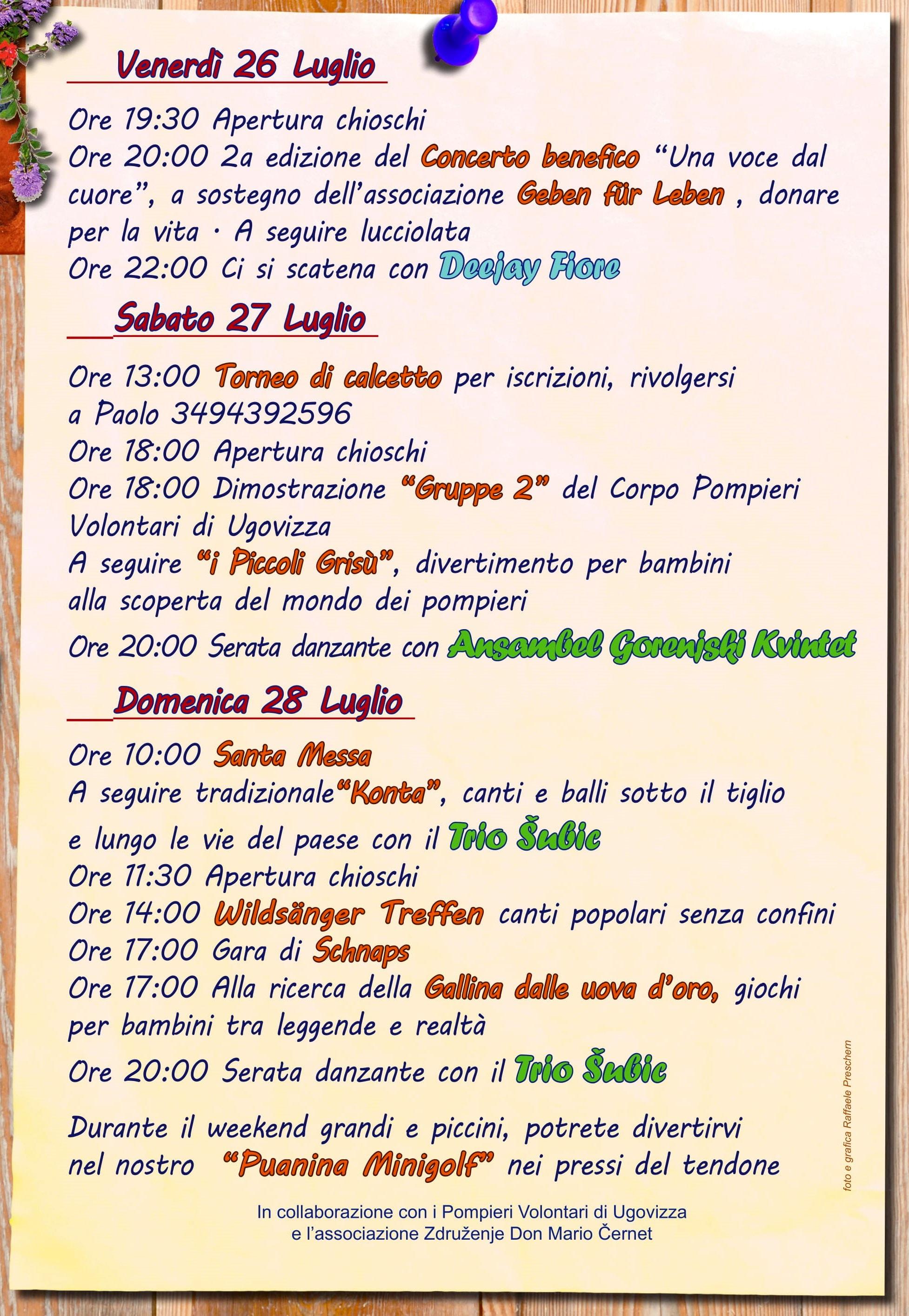 Programma sagra Ugovizza 2019-2