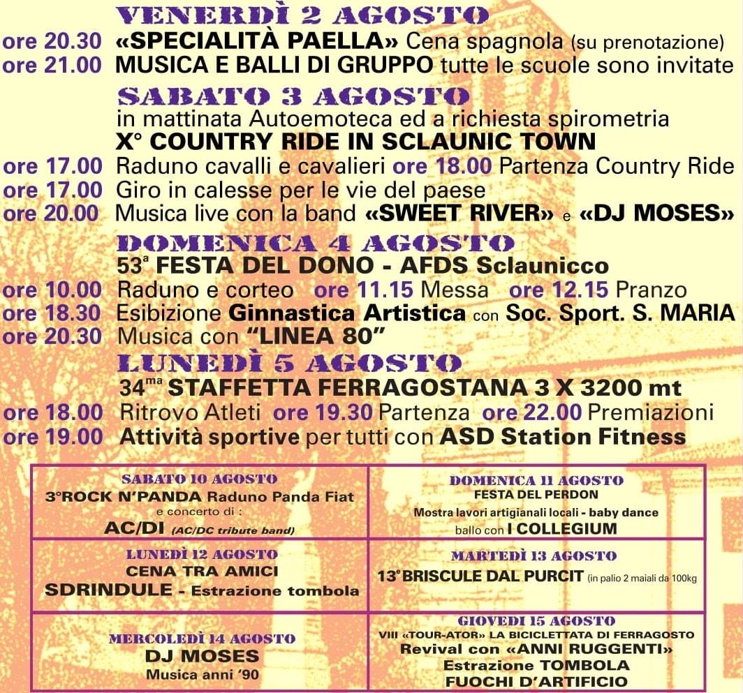 Programma sagra Sclaunicco 2019-2