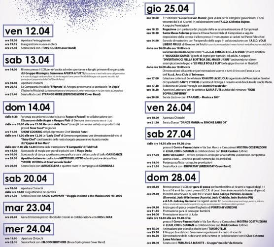 Programma sagra San Marco Gemona 2019-2