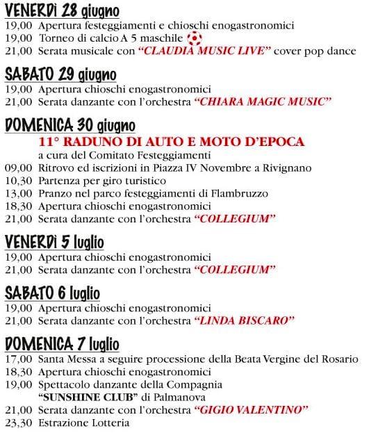 Programma sagra Flambruzzo 2019-2