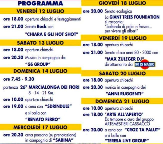 Programma sagra Montegnacco 2019-2