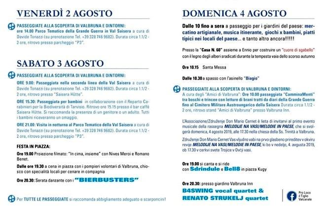 Programma sagra Valbruna 2019-2