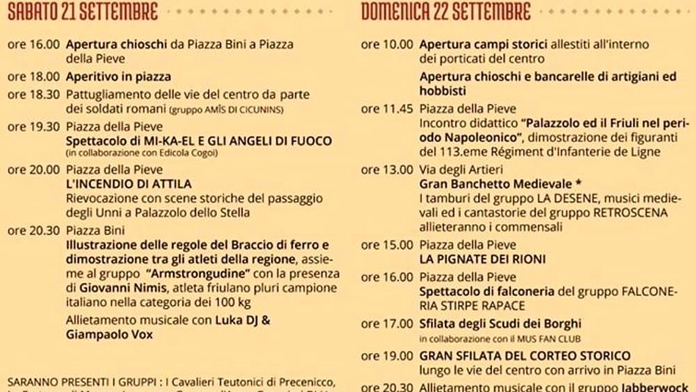 Programma festa Palazzolo della Stella 2019-2