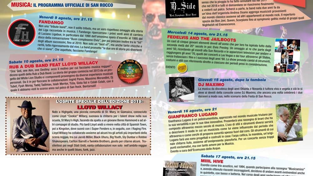 Programma sagra San Rocco 2019-2