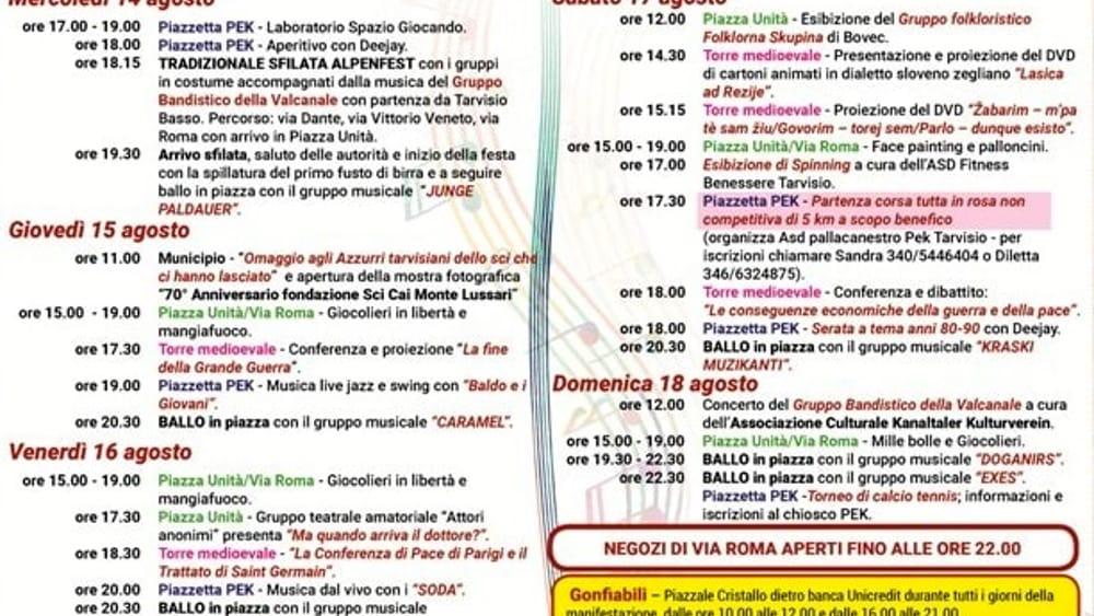 Programma sagra Tarvisio 2019-2