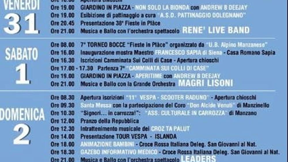 Programma sagra Manzano 2019-2