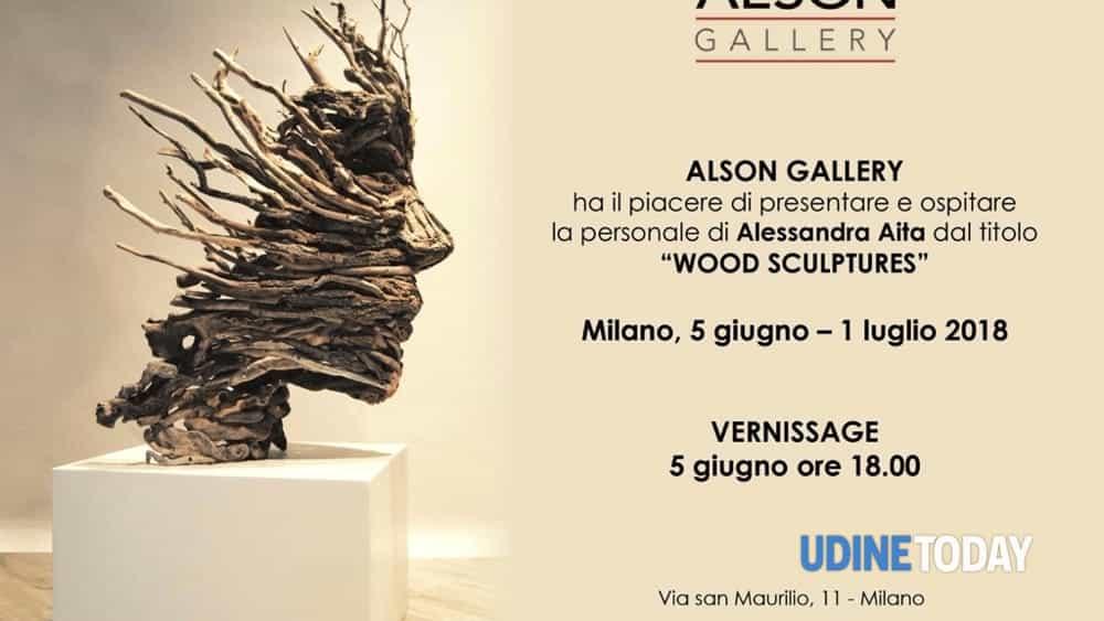 "Alessandra Aita, artista friulana di Buja, espone la sua personale ""WOOD SCULPTURES"" a Milano-2"