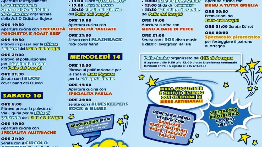 Programma sagra Artegna 2019-2