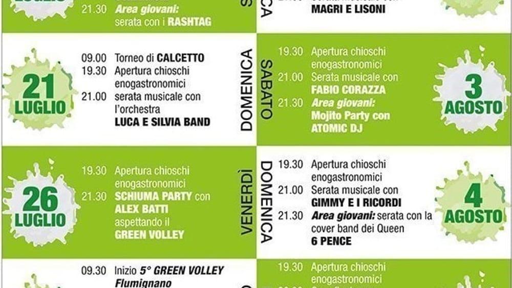 Programma festival dello sport Flumignano 2019-2