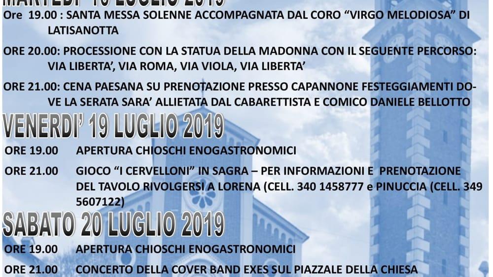 Programma sagra Latisanotta 2019-2