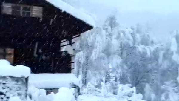 VIDEO La neve cade copiosa su Sauris di Sopra